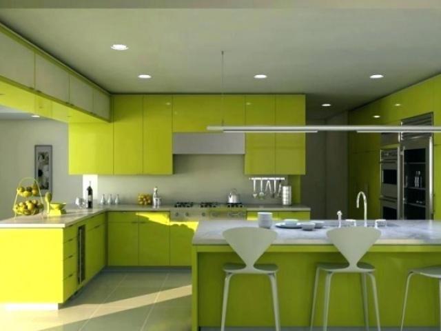 نه میز جزیره آشپزخانه که با رنگ سبز فوق العاده به نظر می رسند