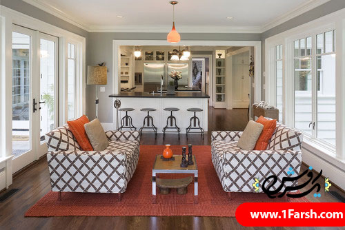 red eclectic family room