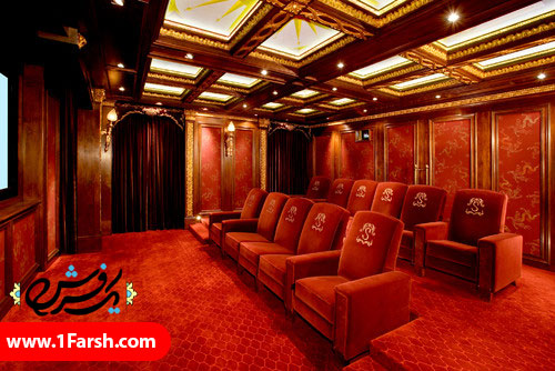 red traditional home theater