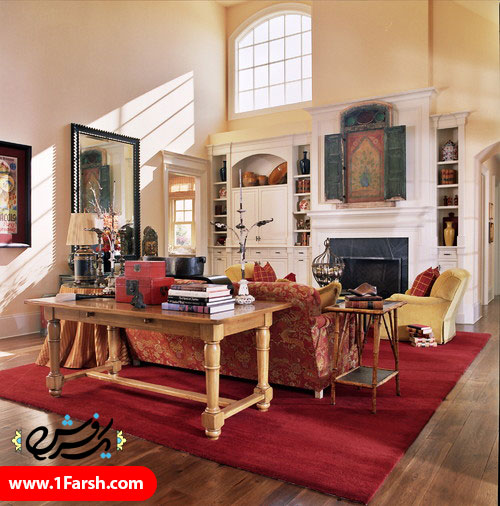 red traditional living room 3
